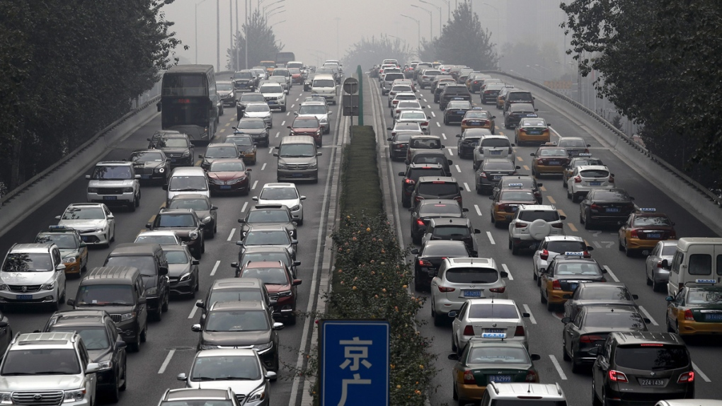 Heavy traffic on a city ring road in Beijing