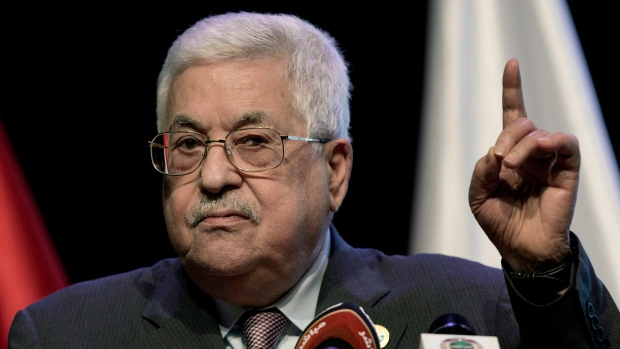 In this Sept. 9. 2019 file photo, Palestinian President Mahmoud Abbas addresses the Fourth National Forum for the Fourth Industrial Revolution, in the West Bank city of Ramallah. (AP Photo/Nasser Nasser, File)
