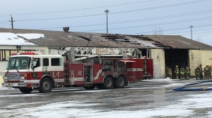 Fire at site of former Rona home improvement store in New Sudbury November 11, 2019 (Molly Frommer/CTV Northern Ontario)
