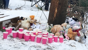 Stuffed animals and toys left over the weekend near the spot where a dead infant was in Saskatoon.
