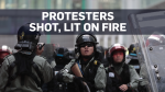A protester was shot in the chest, while another was lit on fire as tensions continue to rise in Hong Kong.