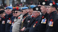 Veterans participate in the National Remembrance Day Ceremony at the National War Memorial in Ottawa, Monday, November 11, 2019. THE CANADIAN PRESS/Adrian Wyld