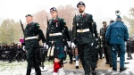 The honour guard march in Remembrance Day celebrations at Queen's Park in Toronto on Monday, November 11, 2019. THE CANADIAN PRESS/Nathan Denette