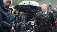 Ontario Premier Doug Ford and Veterans take part in Remembrance Day celebrations at Queen's Park in Toronto on Monday, November 11, 2019. THE CANADIAN PRESS/Nathan Denette