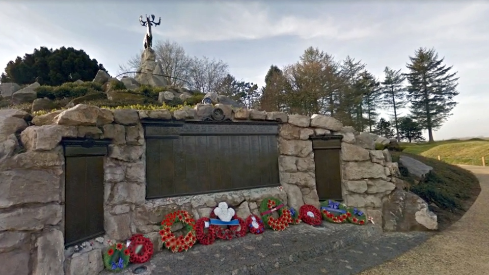 This memorial honours the Newfoundland Regiment, which was almost entirely wiped out on the very first day of the Battle of the Somme. (Google)