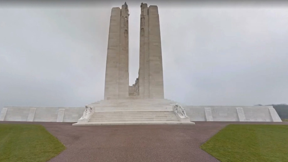 The Vimy Memorial took eleven years to build, and has over 11,000 names of soldiers who perished engraved on the base. (Google)