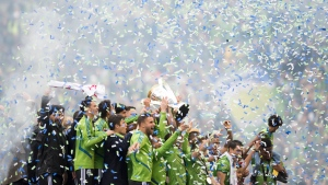 The Seattle Sounders celebrate their win over the Toronto FC following MLS Cup final soccer action in Seattle on Sunday, November 10, 2019. THE CANADIAN PRESS/Jonathan Hayward