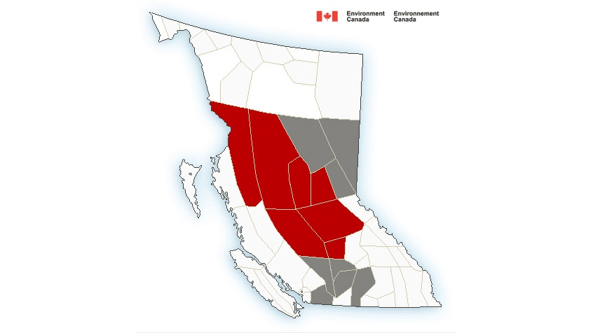 Regions of British Columbia that were placed under freezing rain warnings on Nov. 11, 2019 are seen in this map from Environment Canada.