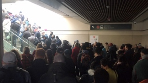 Blair station jammed with transit users as long delays hit November 8th.