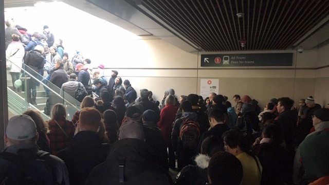 Blair Station jammed with transit users