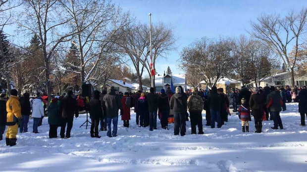 A snowy outdoor Remembrance Day ceremony was held at Edmonton's historic Calder Cenotaph. Nov. 11, 2019. (John Hanson/CTV News Edmonton)