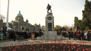 Victoria's 2019 Remembrance Day ceremony included speeches and a parade to mark the 100th anniversary of Remembrance Day in Canada.