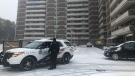 Emergency crews were called to Lawrence Avenue and Mossbank Drive after an air conditioner fell from an apartment building and struck a child. (Corey Baird/CTV News Toronto)