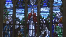 A stained glass window at St. John's United Church in Alliston. (Mike Walker/CTV News)