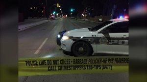 A heavy police presence on Academy Road in Winnipeg on Nov. 11, 2019. (Source: Gary Robson/ CTV News Winnipeg)