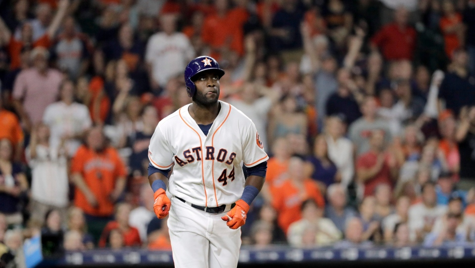 Houston Astros' Yordan Alvarez (44) watches his home run against the Oakland Athletics during the second inning of a baseball game Monday, Sept. 9, 2019, in Houston. (AP Photo/David J. Phillip)