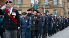 Veterans parade during the Remembrance Day ceremony at the National War Memorial in Ottawa on Monday Nov. 11, 2019. THE CANADIAN PRESS/Sean Kilpatrick