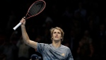 Alexander Zverev of Germany celebrates winning match point againstRafael Nadal of Spain during their ATP World Tour Finals singles tennis match at the O2 Arena in London, Monday, Nov. 11, 2019. (AP Photo/Kirsty Wigglesworth)
