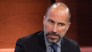 FILE - In this Sept. 25, 2019, file photo Dara Khosrowshahi, CEO of Uber, speaks at the Bloomberg Global Business Forum in New York. (AP Photo/Mark Lennihan, File)
