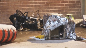 A toddler who was struck by an air conditioning unit that fell from a building has died in hospital. (CTV News Toronto)