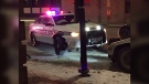 A police cruiser with damage to the front-end at Broadway and Langside. (Source: Gary Robson/CTV News)