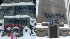 Toronto police say they are investigating an act of vandalism on the cenotaph just outside Old City Hall.