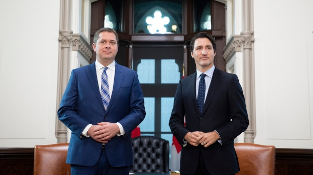 Prime Minister Justin Trudeau meets with Conservative leader Andrew Scheer in his office on Parliament Hill in Ottawa on Tuesday, Nov. 12, 2019. THE CANADIAN PRESS/Justin Tang