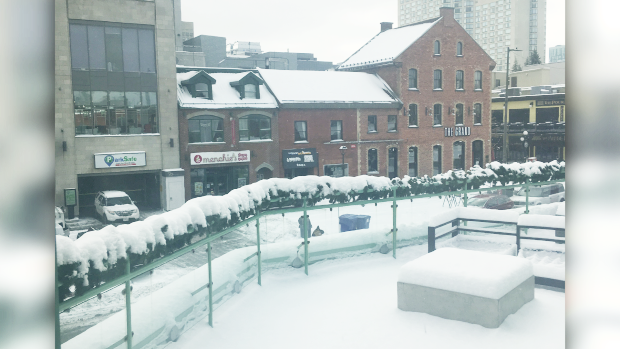 Snow blankets the scene outside of our studios at 87 George St. in Ottawa's ByWard Market on Tuesday, Nov. 12, 2019.