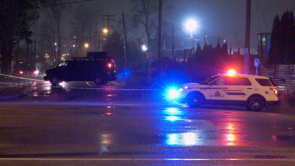 A police cruiser blocks the scene of an investigation in North Surrey on Tuesday, Nov. 12, 2019. (Jordan Jiang / CTV News Vancouver)