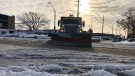A Windsor snow plow removes snow off Giles Boulevard in Windsor, on Tuesday, Nov. 12, 2019. (Melanie Borrelli / CTV Windsor)