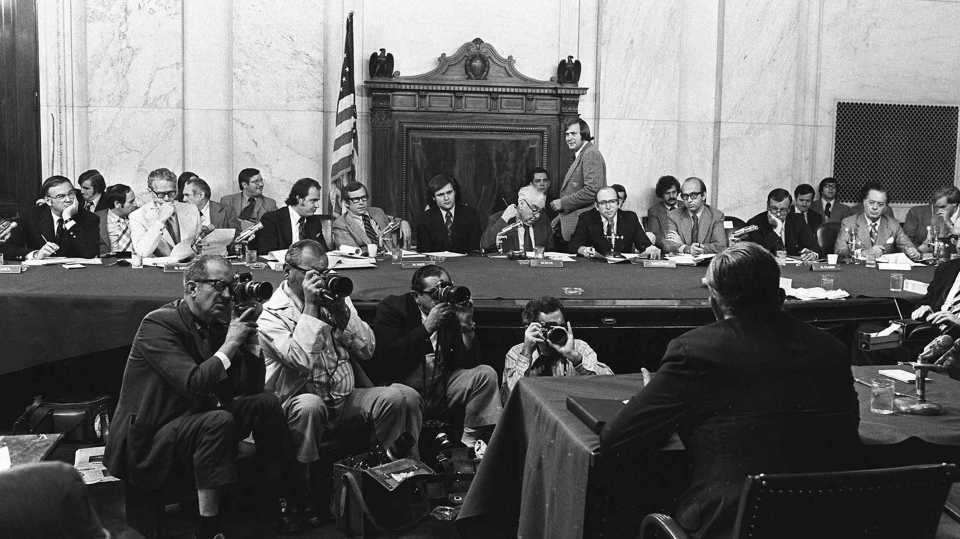 In this Aug. 3, 1973 file photo, the U.S. Senate Watergate Committee hearings continue on Capitol Hill in Washington. (AP Photo)