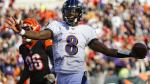 Baltimore Ravens quarterback Lamar Jackson (8) celebrates his touchdown during the second half of NFL football game against the Cincinnati Bengals, Sunday, Nov. 10, 2019, in Cincinnati. (AP / Frank Victores)
