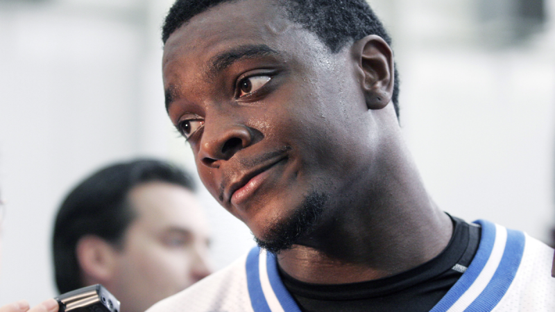 In this Nov. 2, 2005, file photo, Detroit Lions wide receiver Charles Rogers listens to a reporter's question after working out in Allen Park, Mich. (AP / Duane Burleson)