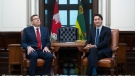 Prime Minister Justin Trudeau and Premier of Saskatchewan Scott Moe wait for media to leave the office after a photo op on Parliament Hill in Ottawa, on Tuesday, Nov. 12, 2019. THE CANADIAN PRESS/Justin Tang