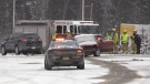 Two-vehicle crash on Bruce Avenue in South Porcupine November 12, 2019 (Lydia Chubak/CTV Northern Ontario)