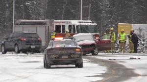 Two-vehicle crash on Bruce Avenue in South Porcupine November 12, 2019 (Lydia Chubak/CTV Northern Ontario)