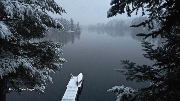 The start of the new season on Lac Johnson, Quebec. The lake is quiet and still, covered in a white winter blanket of a frosty first snow.  (Cate Seguin/CTV Viewer)