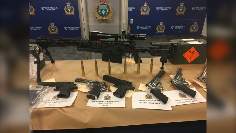Police displayed the guns seized at a news conference on Nov. 12. (Source: Beth Macdonell/CTV News)