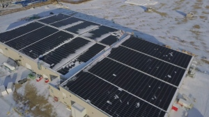 The state-of-the-art solar array—made up of 4,574 panels—was supplied by Enmax and will offset more than 1,000 tonnes of greenhouse gas emissions at Freedom Cannabis every year. Nov. 12, 2019. (Freedom Cannabis)
