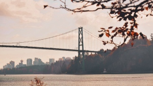 The Lions Gate Bridge is seen in this photo from Weather Watch app user Brittney Donovan in November 2019.