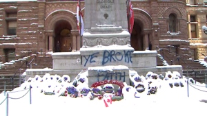 Graffiti spray-painted on cenotaph in Toronto