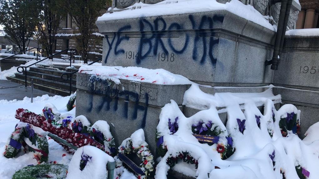 Police arrest 33-year-old man in cenotaph vandalism case
