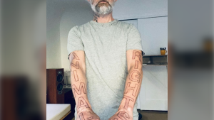 Singer and animal rights advocate Moby celebrated his 32nd year of being vegan by getting arm sleeve tattoos that spell out 'ANIMAL RIGHTS.' (Moby/Instagram)