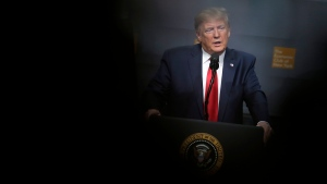 U.S. President Donald Trump speaks during a meeting of the Economic Club of New York in New York, Tuesday, Nov. 12, 2019. (AP Photo/Seth Wenig)
