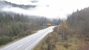 A photo from DriveBC's Highway 5 traffic camera mounted about 11 kilometres north of Hope shows an empty road shortly before 1 p.m. on Tuesday, Nov. 12, 2019.