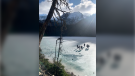 Mounties shared photos of people walking across the ice at Joffre Lakes on Nov. 10, 2019 and are warning people the ice is still too thin. (Whistler RCMP)