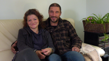 Matthew Boone, a homeless veteran and Arwen Murphy, his partner, who have been temporarily taken in by a Calgary woman, are hoping to find a place to live together with their two support dogs before the winter.