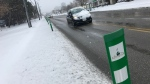 A bike lane in Kitchener is covered with snow on Monday, Nov. 11, 2019. (Dan Lauckner / CTV Kitchener)