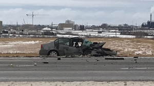 A 68-year-old woman driving this Honda is dead after a two-vehicle crash on Tuesday, Nov. 12, 2019. (CTV News Edmonton)