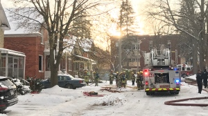 One person has been sent to hospital following a house fire in Kitchener on Tuesday, Nov. 12, 2019. (Dan Lauckner / CTV Kitchener)